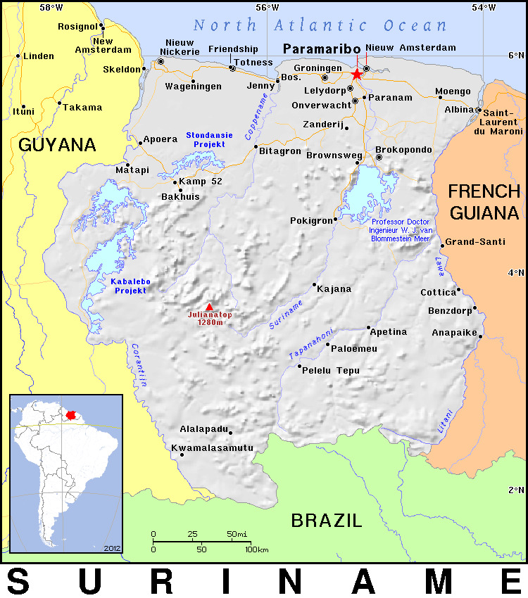 8. Suriname Map